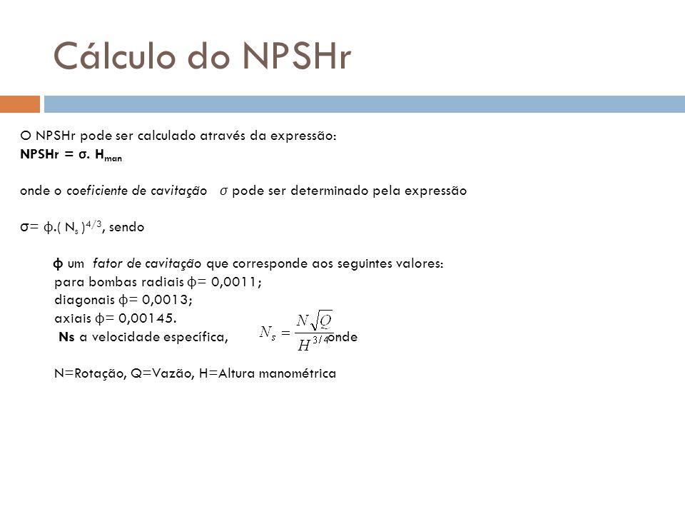 Cálculo do NPSHr O NPSHr pode ser calculado através da expressão: NPSHr = σ. H man onde o coeficiente de cavitação σ pode ser determinado pela express