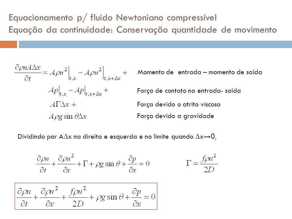 Equacionamento p/ fluido Newtoniano compressível Equação da continuidade: Conservação quantidade de movimento Momento de entrada – momento de saída Fo