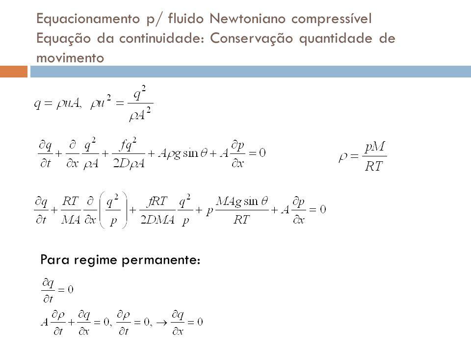 Equacionamento p/ fluido Newtoniano compressível Equação da continuidade: Conservação quantidade de movimento Para regime permanente: