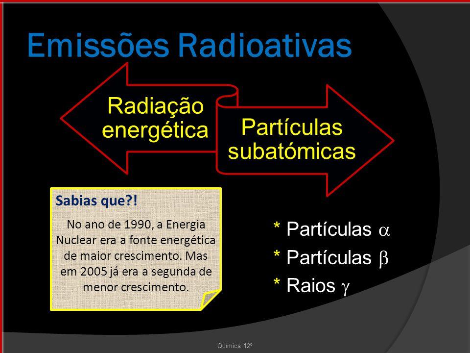 Emissões Radioativas * Partículas  * Partículas  * Raios  Química 12º Sabias que?.