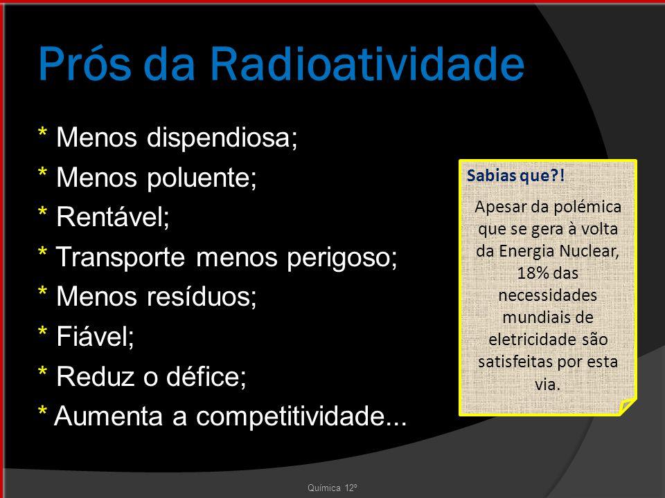 Prós da Radioatividade * Menos dispendiosa; * Menos poluente; * Rentável; * Transporte menos perigoso; * Menos resíduos; * Fiável; * Reduz o défice; * Aumenta a competitividade...