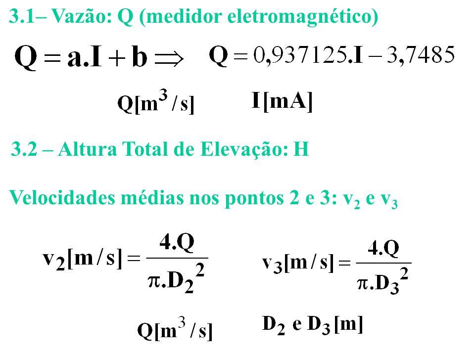 3.1– Vazão: Q (medidor eletromagnético) Velocidades médias nos pontos 2 e 3: v 2 e v 3 3.2 – Altura Total de Elevação: H