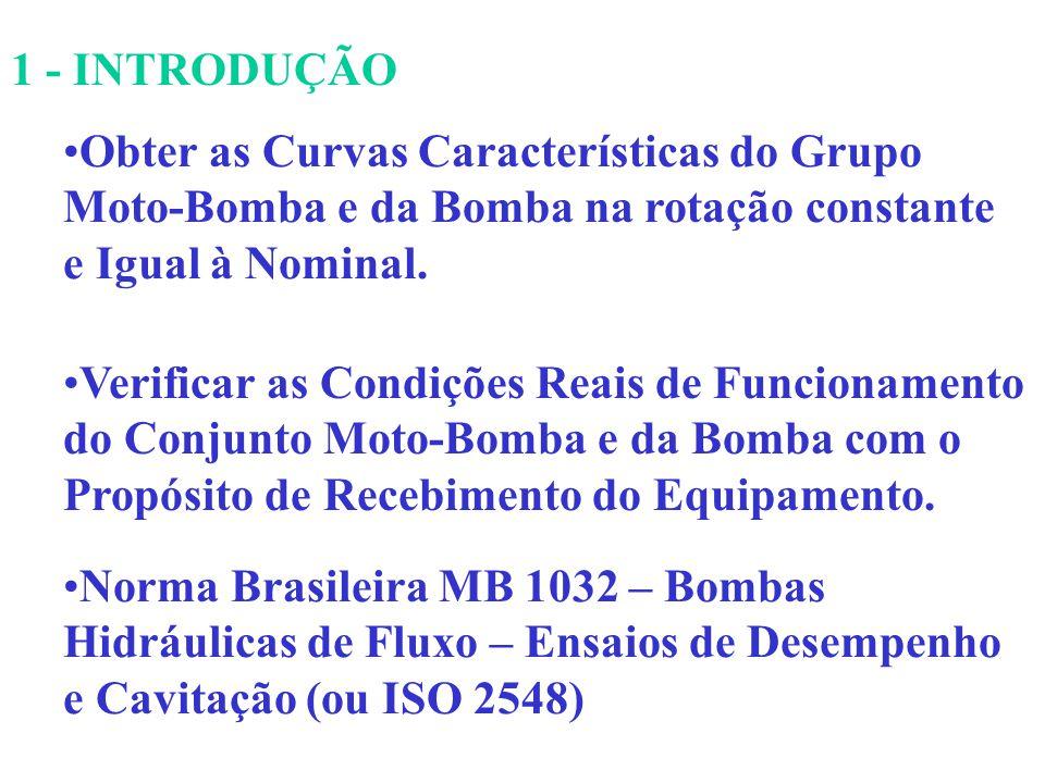 1 - INTRODUÇÃO Obter as Curvas Características do Grupo Moto-Bomba e da Bomba na rotação constante e Igual à Nominal. Verificar as Condições Reais de