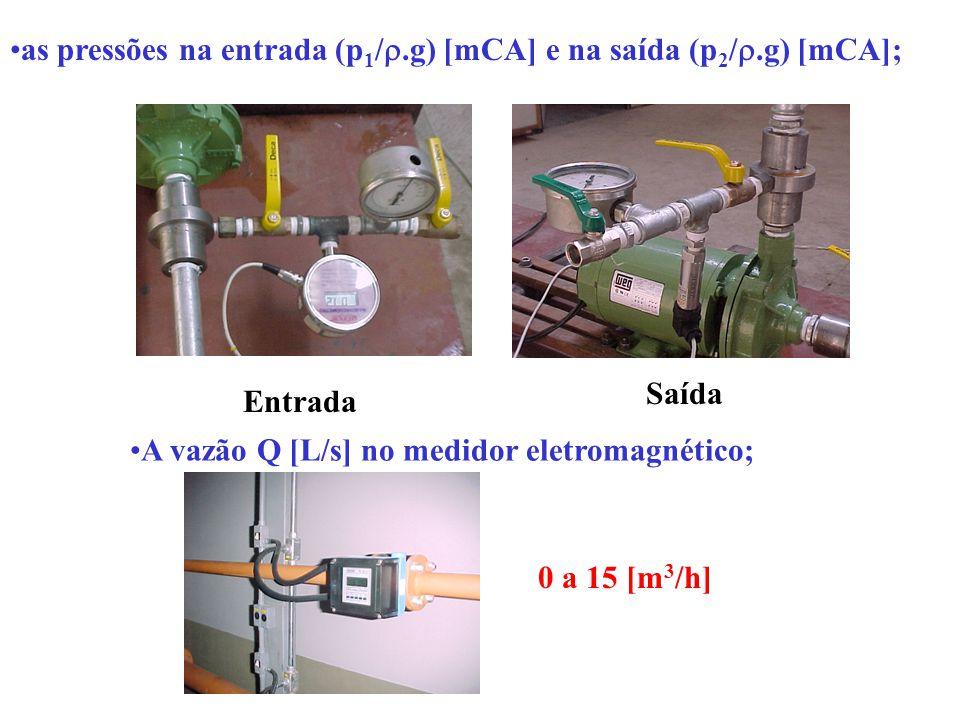 as pressões na entrada (p 1 / .g) [mCA] e na saída (p 2 / .g) [mCA]; Entrada Saída A vazão Q [L/s] no medidor eletromagnético; 0 a 15 [m 3 /h]