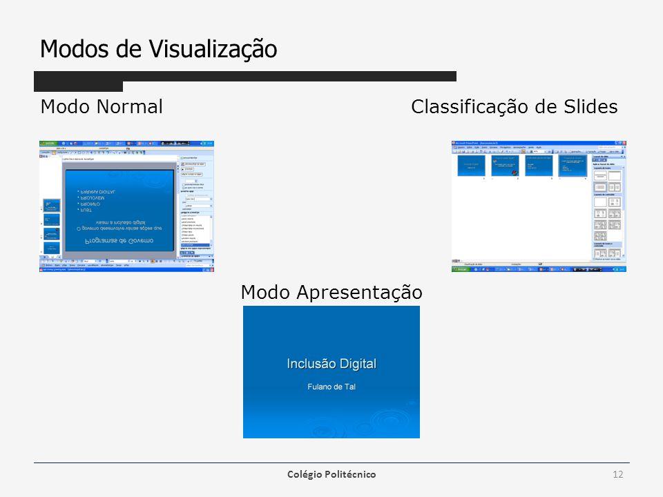 Modos de Visualização Modo NormalClassificação de Slides Modo Apresentação Colégio Politécnico12