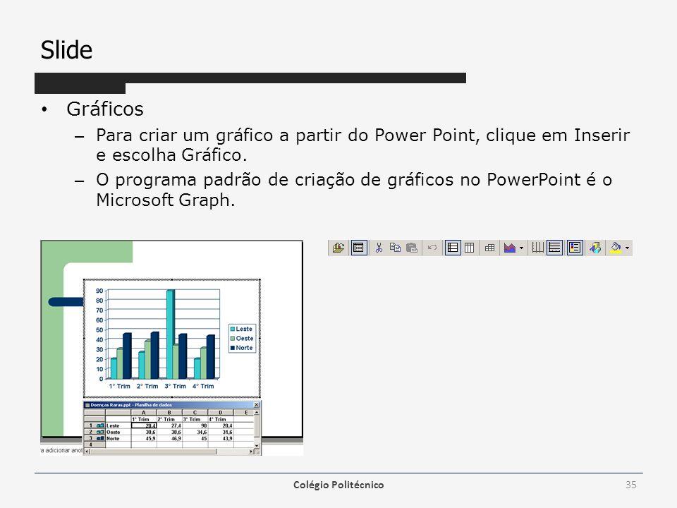 Slide Gráficos – Para criar um gráfico a partir do Power Point, clique em Inserir e escolha Gráfico. – O programa padrão de criação de gráficos no Pow
