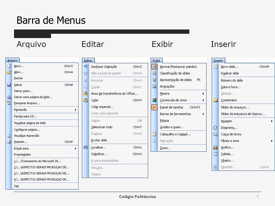 Criando uma Apresentação Tipos de Arquivos – A extensão padrão é.PPT, mas podemos salvar em PPS, HTML, POT, PPA, GIF, JPG, PNG, TIF, BMP, WMF, EMF e RTF.