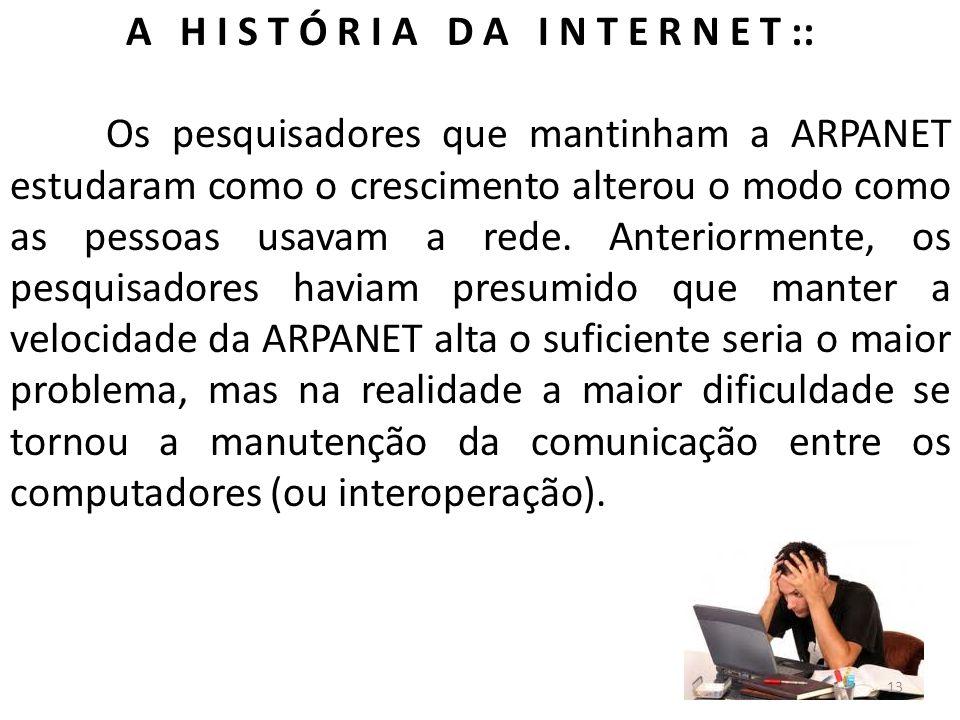 A H I S T Ó R I A D A I N T E R N E T :: Os pesquisadores que mantinham a ARPANET estudaram como o crescimento alterou o modo como as pessoas usavam a