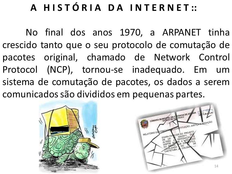 A H I S T Ó R I A D A I N T E R N E T :: No final dos anos 1970, a ARPANET tinha crescido tanto que o seu protocolo de comutação de pacotes original,