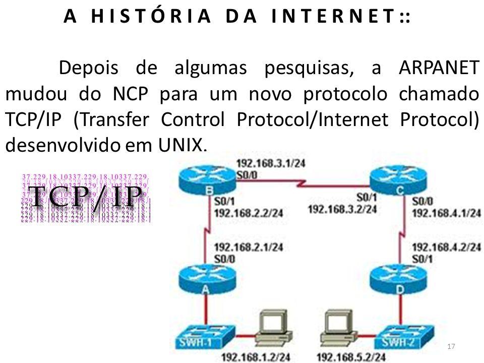 A H I S T Ó R I A D A I N T E R N E T :: Depois de algumas pesquisas, a ARPANET mudou do NCP para um novo protocolo chamado TCP/IP (Transfer Control P
