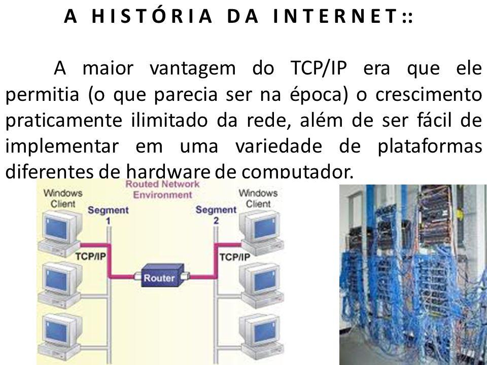 A H I S T Ó R I A D A I N T E R N E T :: A maior vantagem do TCP/IP era que ele permitia (o que parecia ser na época) o crescimento praticamente ilimi