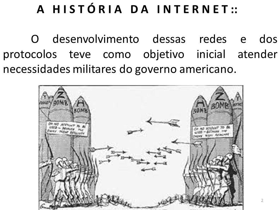 A H I S T Ó R I A D A I N T E R N E T :: O desenvolvimento dessas redes e dos protocolos teve como objetivo inicial atender necessidades militares do