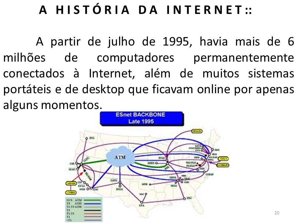 A H I S T Ó R I A D A I N T E R N E T :: A partir de julho de 1995, havia mais de 6 milhões de computadores permanentemente conectados à Internet, alé