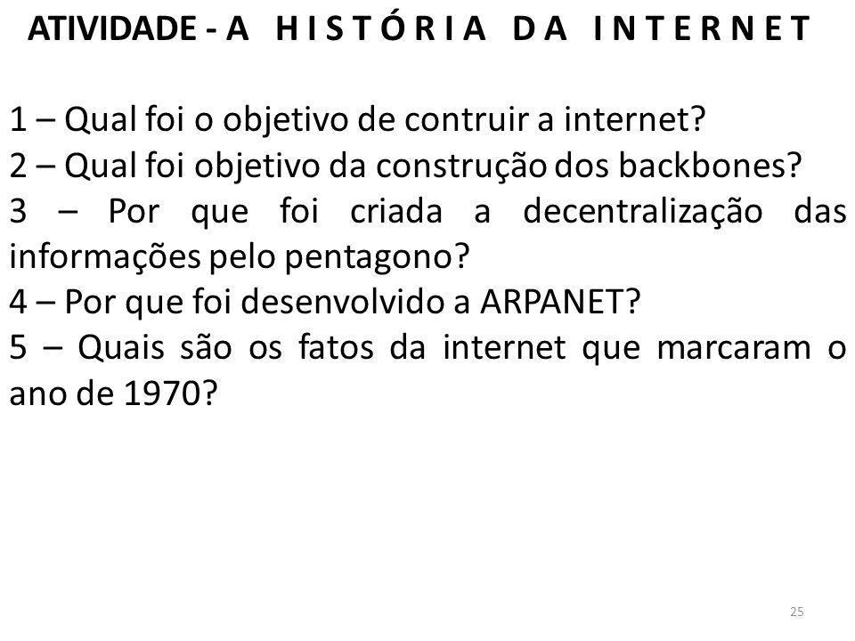 ATIVIDADE - A H I S T Ó R I A D A I N T E R N E T 1 – Qual foi o objetivo de contruir a internet? 2 – Qual foi objetivo da construção dos backbones? 3