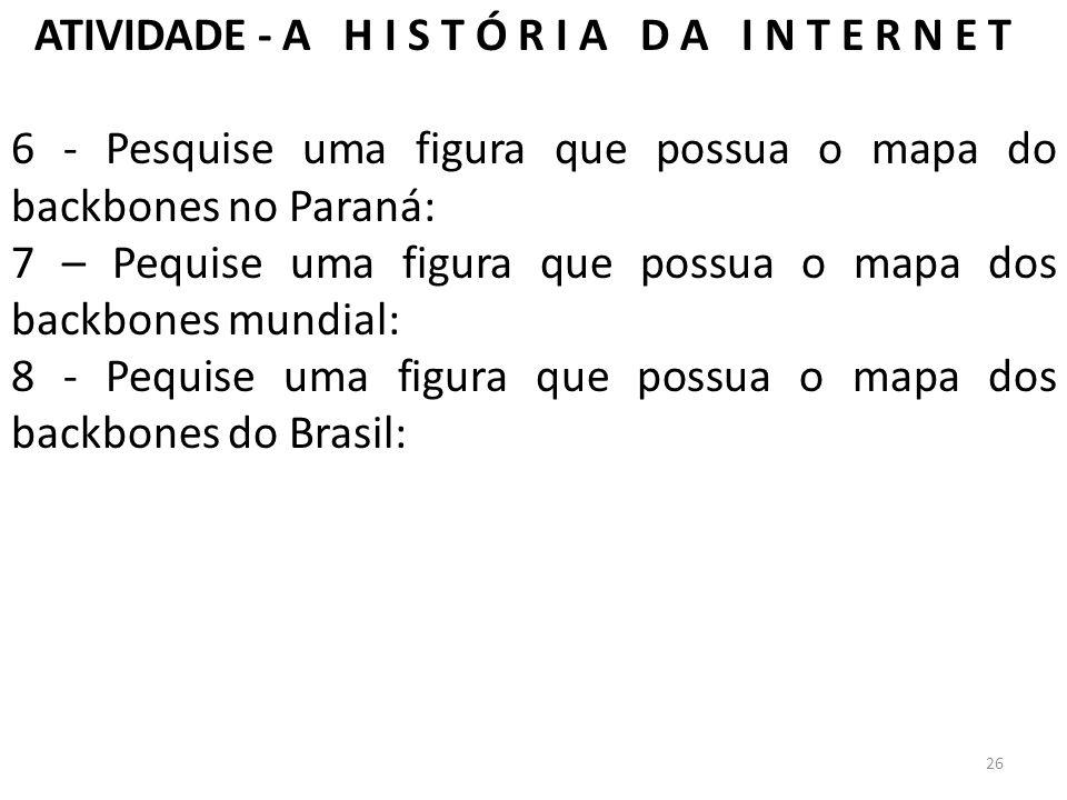 ATIVIDADE - A H I S T Ó R I A D A I N T E R N E T 6 - Pesquise uma figura que possua o mapa do backbones no Paraná: 7 – Pequise uma figura que possua