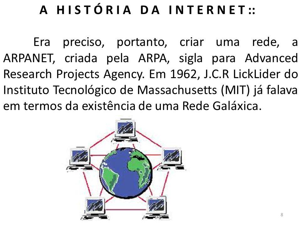 A H I S T Ó R I A D A I N T E R N E T :: Era preciso, portanto, criar uma rede, a ARPANET, criada pela ARPA, sigla para Advanced Research Projects Age