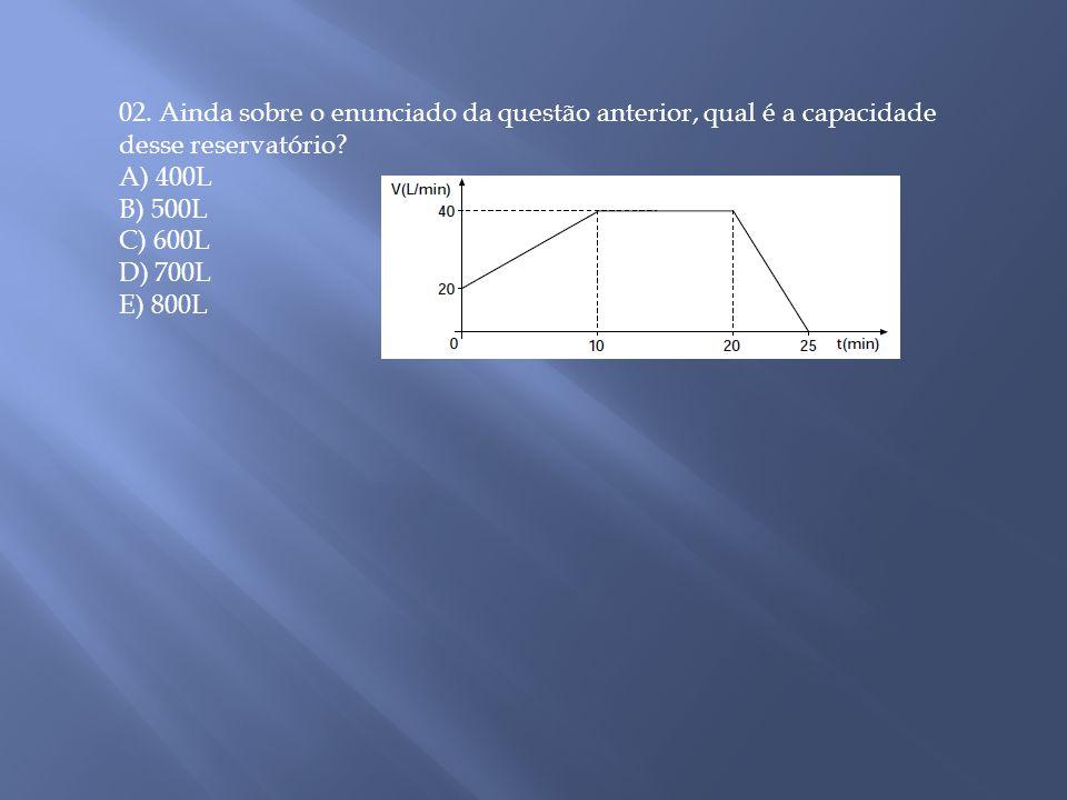 02. Ainda sobre o enunciado da questão anterior, qual é a capacidade desse reservatório? A) 400L B) 500L C) 600L D) 700L E) 800L