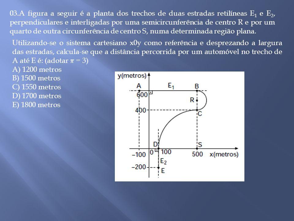 03.A figura a seguir é a planta dos trechos de duas estradas retilíneas E 1 e E 2, perpendiculares e interligadas por uma semicircunferência de centro R e por um quarto de outra circunferência de centro S, numa determinada região plana.