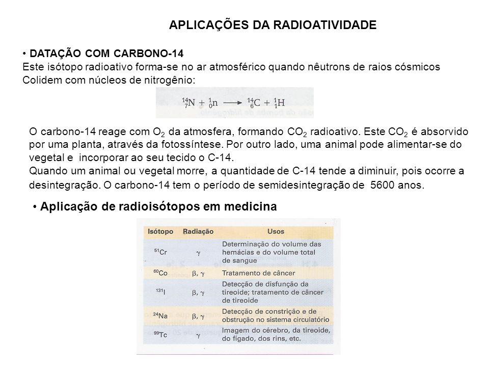APLICAÇÕES DA RADIOATIVIDADE DATAÇÃO COM CARBONO-14 Este isótopo radioativo forma-se no ar atmosférico quando nêutrons de raios cósmicos Colidem com n