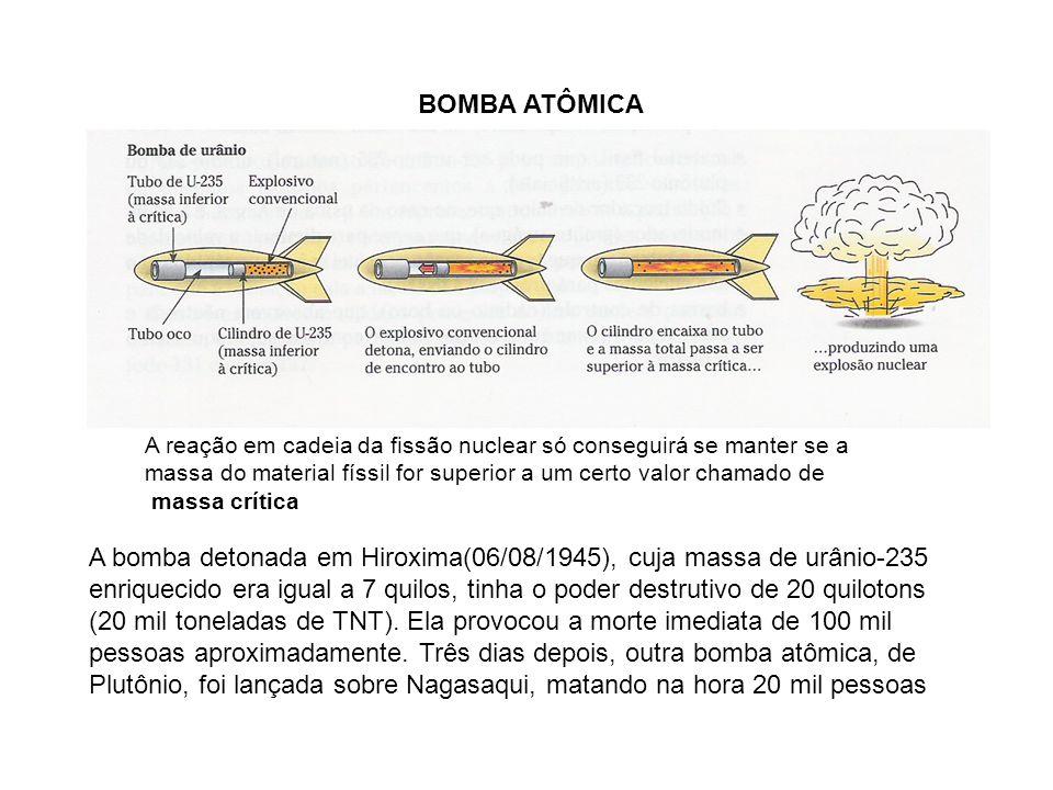 BOMBA ATÔMICA A bomba detonada em Hiroxima(06/08/1945), cuja massa de urânio-235 enriquecido era igual a 7 quilos, tinha o poder destrutivo de 20 quil