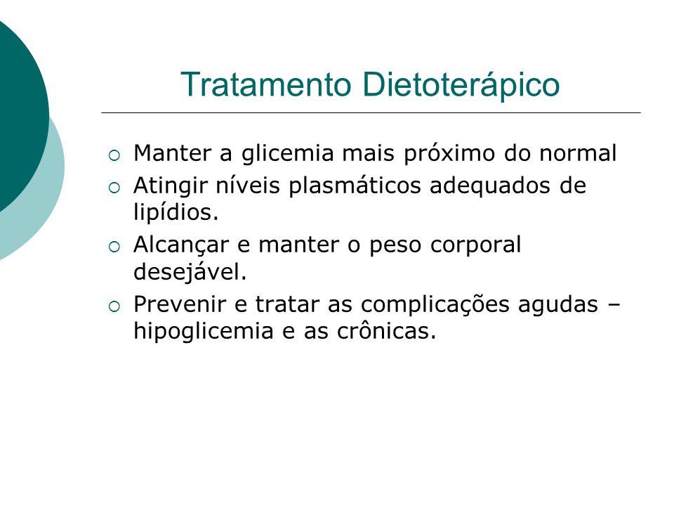 Tratamento Dietoterápico  Manter a glicemia mais próximo do normal  Atingir níveis plasmáticos adequados de lipídios.