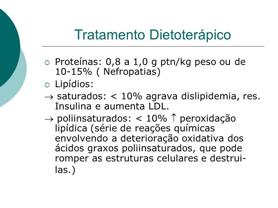 Tratamento Dietoterápico  Proteínas: 0,8 a 1,0 g ptn/kg peso ou de 10-15% ( Nefropatias)  Lipídios:  saturados: < 10% agrava dislipidemia, res.