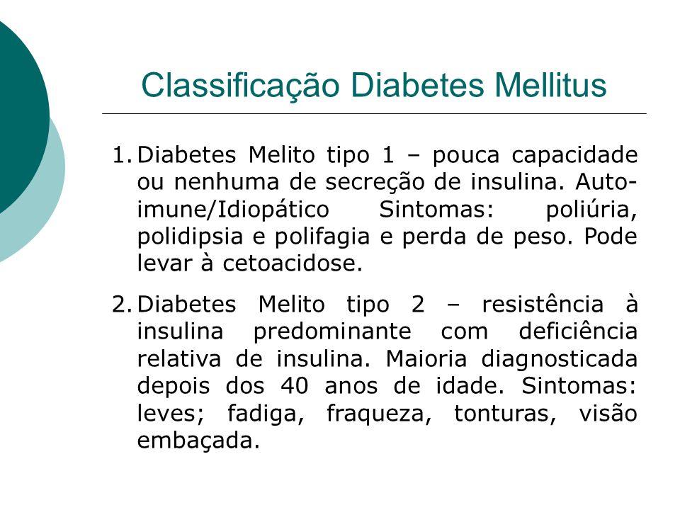 Classificação Diabetes Mellitus Os fatores de risco incluem: idade avançada, obesidade, história familiar de diabetes, história anterior de diabetes gestacional, homeostasia deficiente da glicose, inatividade física, etnia.