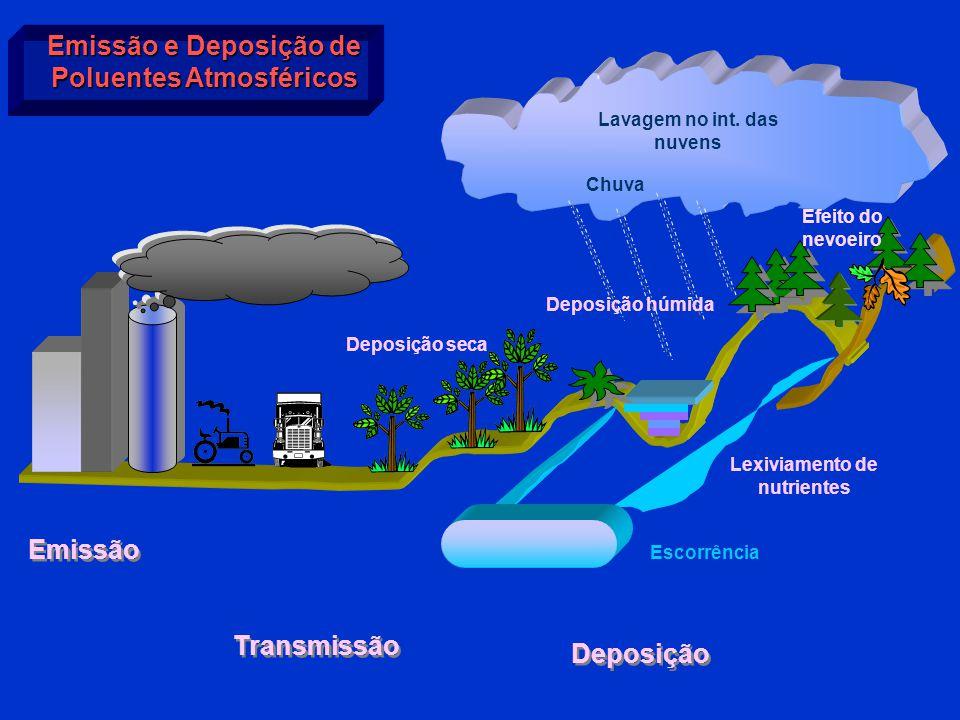 Emissão e Deposição de Poluentes Atmosféricos Lavagem no int. das nuvens Chuva Lexiviamento de nutrientes Escorrência Deposição Transmissão Emissão De