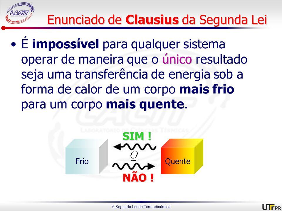 A Segunda Lei da Termodinâmica Enunciado de Clausius da Segunda Lei únicoÉ impossível para qualquer sistema operar de maneira que o único resultado seja uma transferência de energia sob a forma de calor de um corpo mais frio para um corpo mais quente.