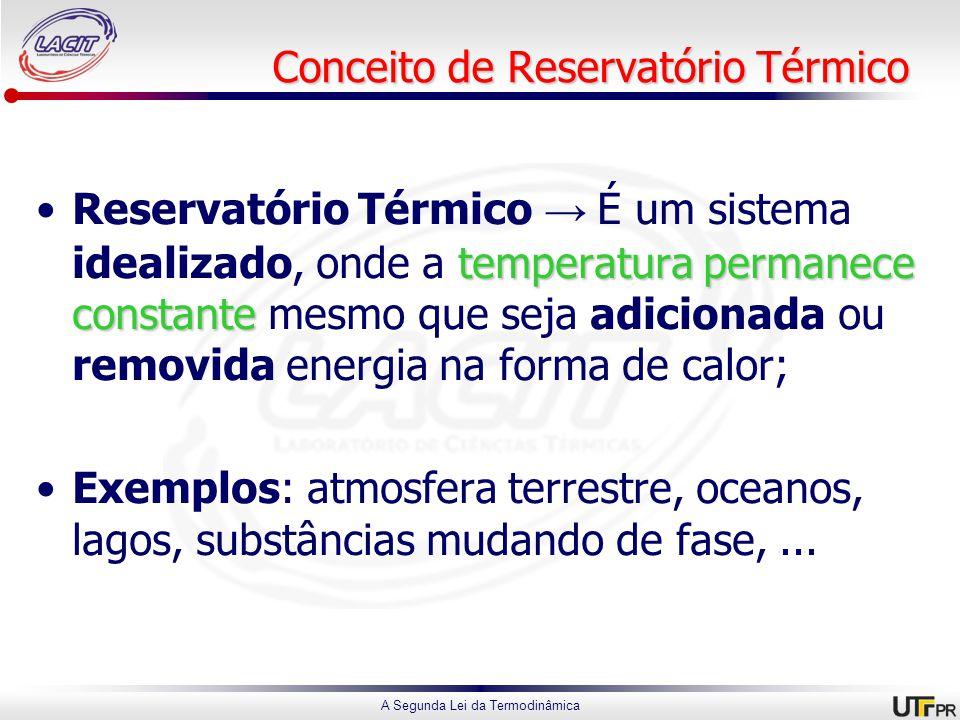 A Segunda Lei da Termodinâmica Conceito de Reservatório Térmico temperatura permanece constanteReservatório Térmico → É um sistema idealizado, onde a temperatura permanece constante mesmo que seja adicionada ou removida energia na forma de calor; Exemplos: atmosfera terrestre, oceanos, lagos, substâncias mudando de fase,...