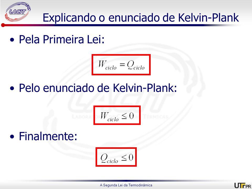 A Segunda Lei da Termodinâmica Explicando o enunciado de Kelvin-Plank Pela Primeira Lei: Pelo enunciado de Kelvin-Plank: Finalmente: