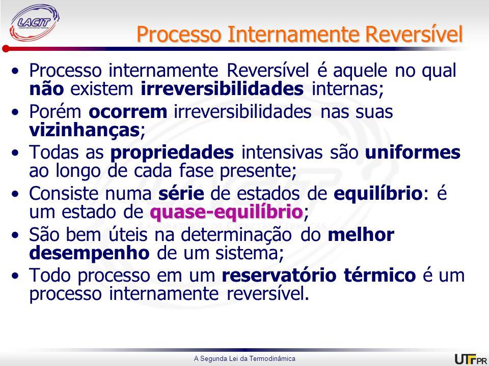 A Segunda Lei da Termodinâmica Processo Internamente Reversível Processo internamente Reversível é aquele no qual não existem irreversibilidades internas; Porém ocorrem irreversibilidades nas suas vizinhanças; Todas as propriedades intensivas são uniformes ao longo de cada fase presente; quase-equilíbrioConsiste numa série de estados de equilíbrio: é um estado de quase-equilíbrio; São bem úteis na determinação do melhor desempenho de um sistema; Todo processo em um reservatório térmico é um processo internamente reversível.