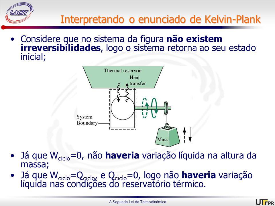 A Segunda Lei da Termodinâmica Interpretando o enunciado de Kelvin-Plank Considere que no sistema da figura não existem irreversibilidades, logo o sistema retorna ao seu estado inicial; Já que W ciclo =0, não haveria variação líquida na altura da massa; Já que W ciclo =Q ciclo, e Q ciclo =0, logo não haveria variação líquida nas condições do reservatório térmico.