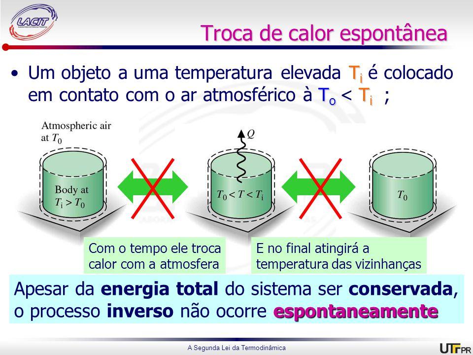 A Segunda Lei da Termodinâmica Troca de calor espontânea T i T o T iUm objeto a uma temperatura elevada T i é colocado em contato com o ar atmosférico à T o < T i ; Com o tempo ele troca calor com a atmosfera E no final atingirá a temperatura das vizinhanças Apesar da energia total do sistema ser conservada, espontaneamente o processo inverso não ocorre espontaneamente