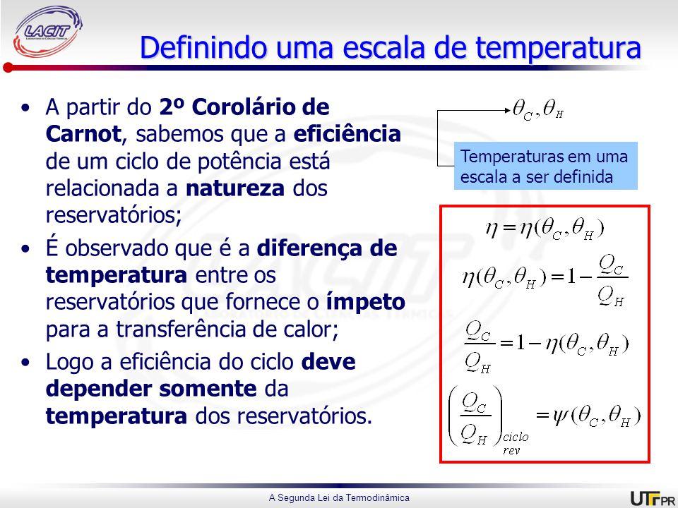 A Segunda Lei da Termodinâmica Definindo uma escala de temperatura A partir do 2º Corolário de Carnot, sabemos que a eficiência de um ciclo de potência está relacionada a natureza dos reservatórios; É observado que é a diferença de temperatura entre os reservatórios que fornece o ímpeto para a transferência de calor; Logo a eficiência do ciclo deve depender somente da temperatura dos reservatórios.