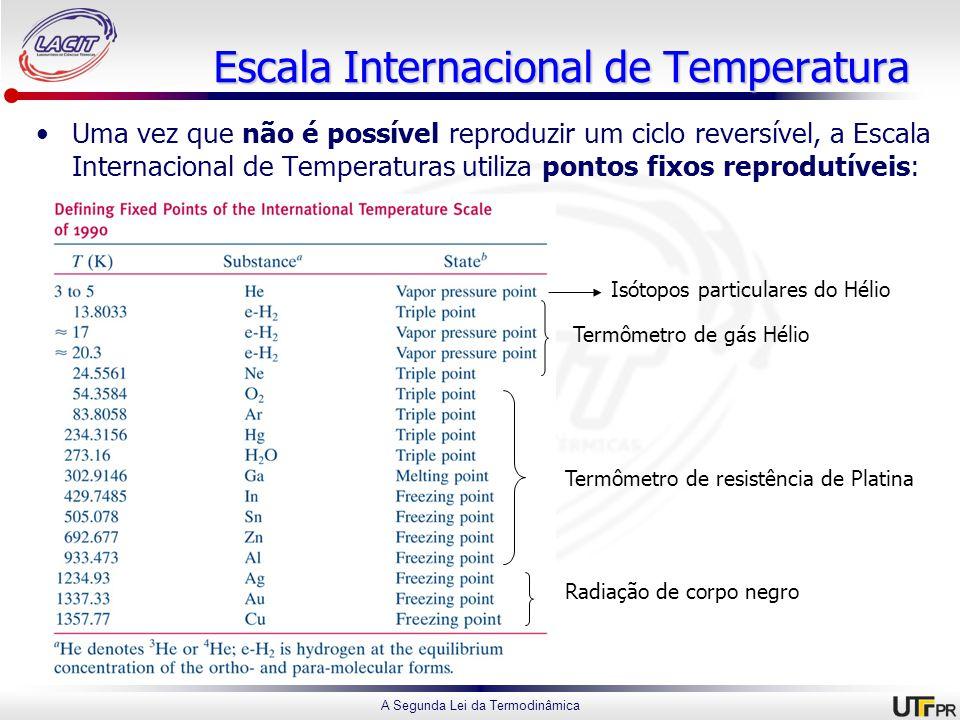 A Segunda Lei da Termodinâmica Escala Internacional de Temperatura Uma vez que não é possível reproduzir um ciclo reversível, a Escala Internacional de Temperaturas utiliza pontos fixos reprodutíveis: Isótopos particulares do Hélio Termômetro de gás Hélio Termômetro de resistência de Platina Radiação de corpo negro