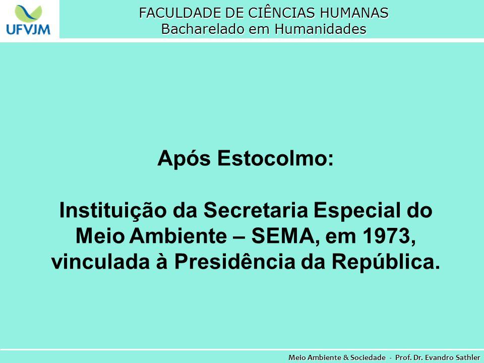 FACULDADE DE CIÊNCIAS HUMANAS Bacharelado em Humanidades Meio Ambiente & Sociedade - Prof. Dr. Evandro Sathler Após Estocolmo: Instituição da Secretar