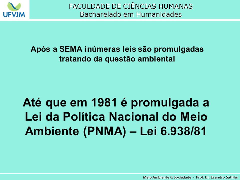 FACULDADE DE CIÊNCIAS HUMANAS Bacharelado em Humanidades Meio Ambiente & Sociedade - Prof. Dr. Evandro Sathler Até que em 1981 é promulgada a Lei da P