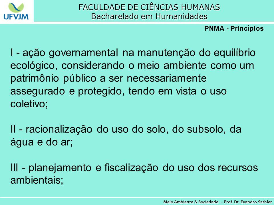 FACULDADE DE CIÊNCIAS HUMANAS Bacharelado em Humanidades Meio Ambiente & Sociedade - Prof. Dr. Evandro Sathler PNMA - Princípios I - ação governamenta