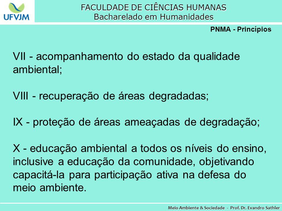 FACULDADE DE CIÊNCIAS HUMANAS Bacharelado em Humanidades Meio Ambiente & Sociedade - Prof. Dr. Evandro Sathler PNMA - Princípios VII - acompanhamento