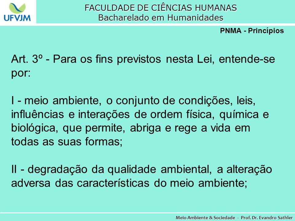 FACULDADE DE CIÊNCIAS HUMANAS Bacharelado em Humanidades Meio Ambiente & Sociedade - Prof. Dr. Evandro Sathler PNMA - Princípios Art. 3º - Para os fin