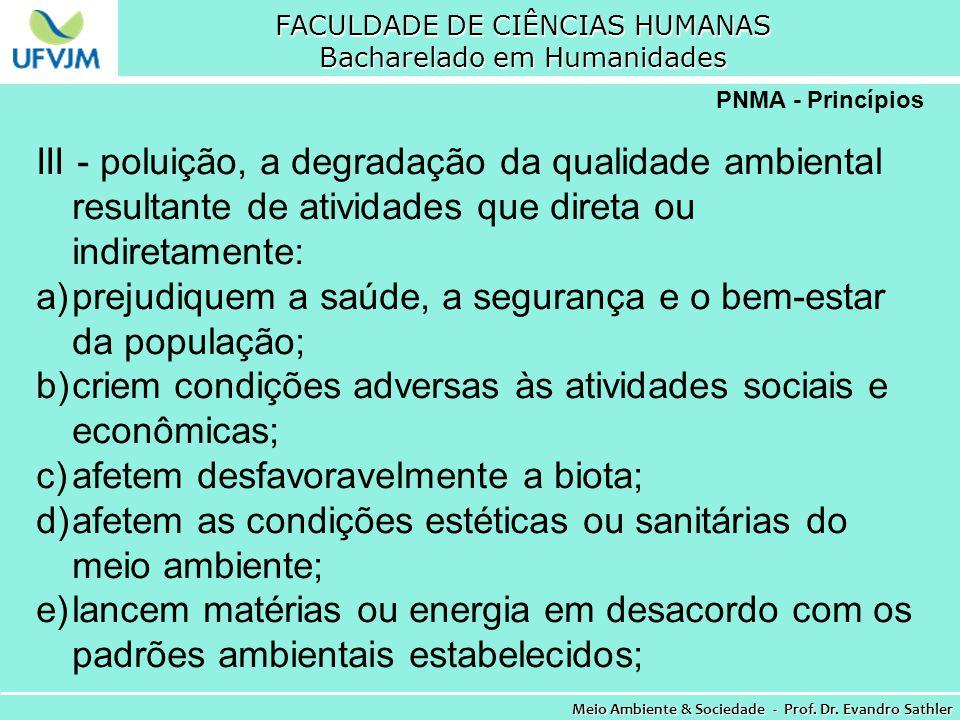 FACULDADE DE CIÊNCIAS HUMANAS Bacharelado em Humanidades Meio Ambiente & Sociedade - Prof. Dr. Evandro Sathler PNMA - Princípios III - poluição, a deg