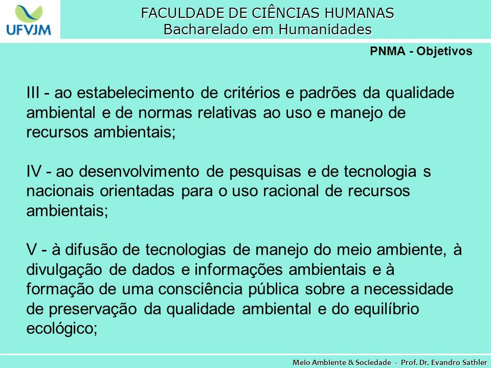 FACULDADE DE CIÊNCIAS HUMANAS Bacharelado em Humanidades Meio Ambiente & Sociedade - Prof. Dr. Evandro Sathler PNMA - Objetivos III - ao estabelecimen