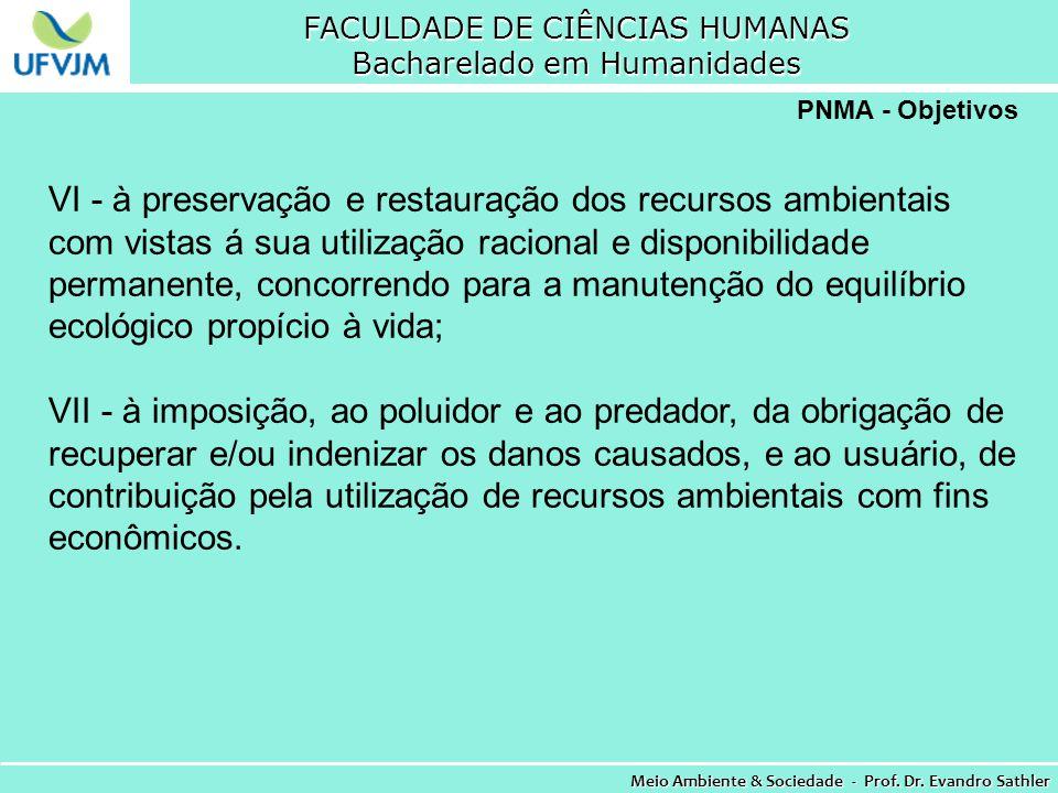 FACULDADE DE CIÊNCIAS HUMANAS Bacharelado em Humanidades Meio Ambiente & Sociedade - Prof. Dr. Evandro Sathler PNMA - Objetivos VI - à preservação e r