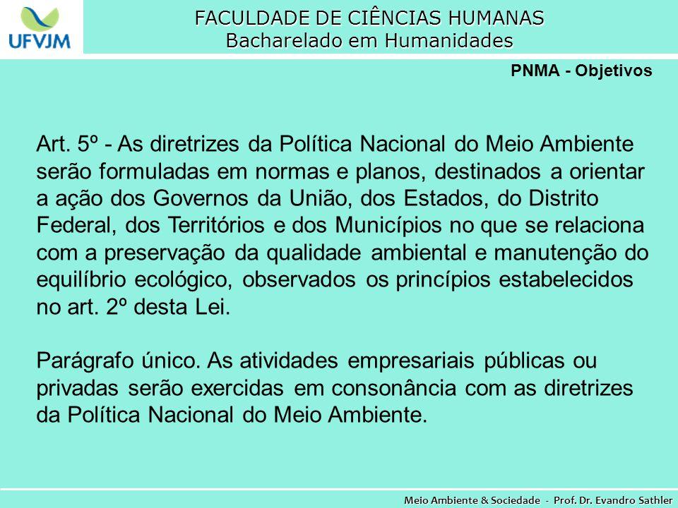 FACULDADE DE CIÊNCIAS HUMANAS Bacharelado em Humanidades Meio Ambiente & Sociedade - Prof. Dr. Evandro Sathler PNMA - Objetivos Art. 5º - As diretrize