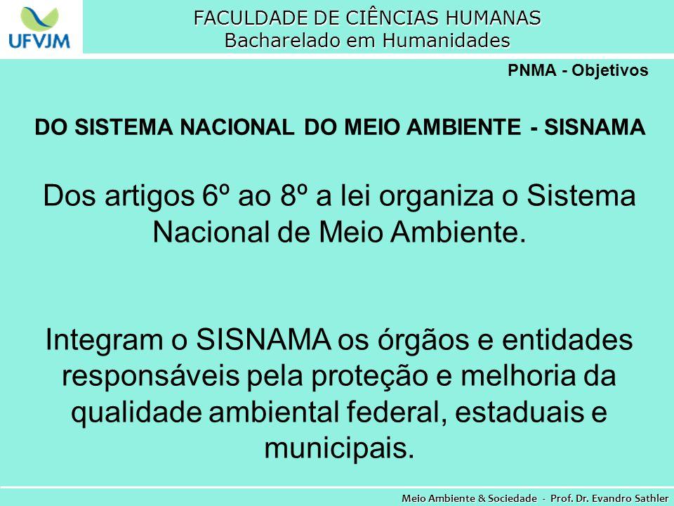 FACULDADE DE CIÊNCIAS HUMANAS Bacharelado em Humanidades Meio Ambiente & Sociedade - Prof. Dr. Evandro Sathler PNMA - Objetivos DO SISTEMA NACIONAL DO