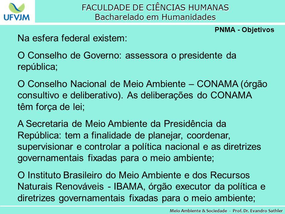 FACULDADE DE CIÊNCIAS HUMANAS Bacharelado em Humanidades Meio Ambiente & Sociedade - Prof. Dr. Evandro Sathler PNMA - Objetivos Na esfera federal exis