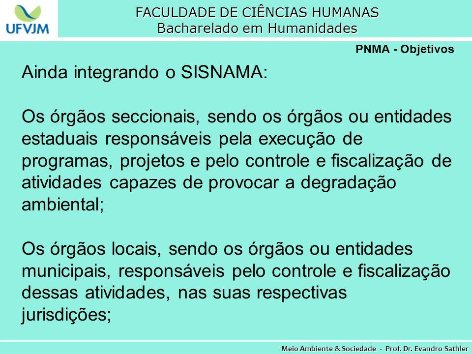 FACULDADE DE CIÊNCIAS HUMANAS Bacharelado em Humanidades Meio Ambiente & Sociedade - Prof. Dr. Evandro Sathler PNMA - Objetivos Ainda integrando o SIS