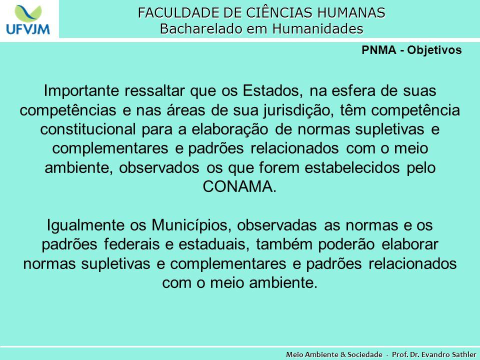 FACULDADE DE CIÊNCIAS HUMANAS Bacharelado em Humanidades Meio Ambiente & Sociedade - Prof. Dr. Evandro Sathler PNMA - Objetivos Importante ressaltar q