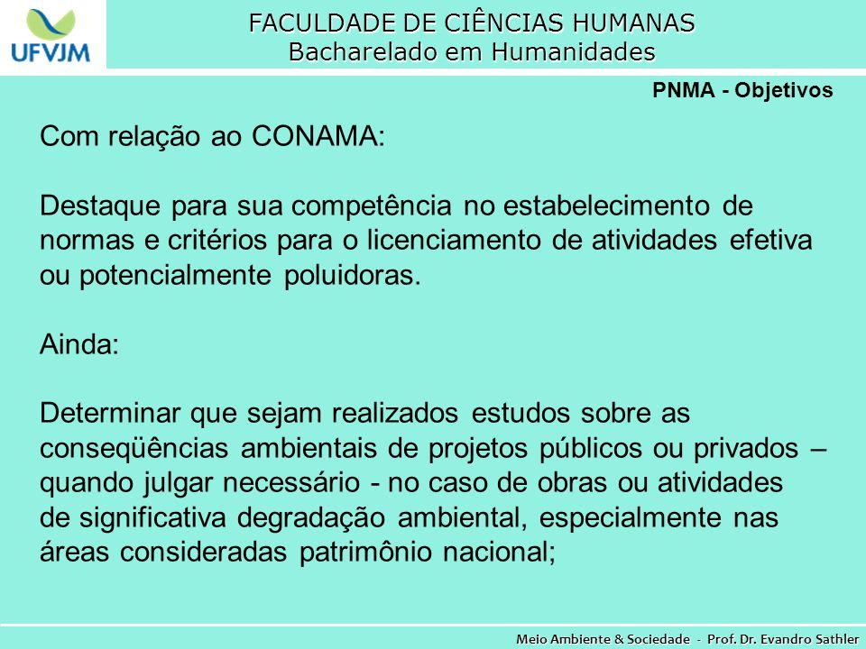 FACULDADE DE CIÊNCIAS HUMANAS Bacharelado em Humanidades Meio Ambiente & Sociedade - Prof. Dr. Evandro Sathler PNMA - Objetivos Com relação ao CONAMA: